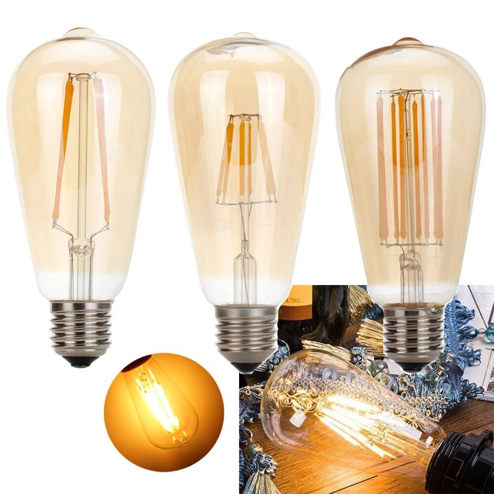 Lámpara de bombilla de filamento LED Edison E27 ST64, 4W, 6W, 8W,...