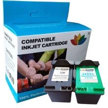1 zestaw pojemnik z tuszem kompatybilny do HP 338 343 dla Photosmart C3100 C3110 C3140 C3150 C3170 C3180 C3190 Officejet 7210 7310 7410