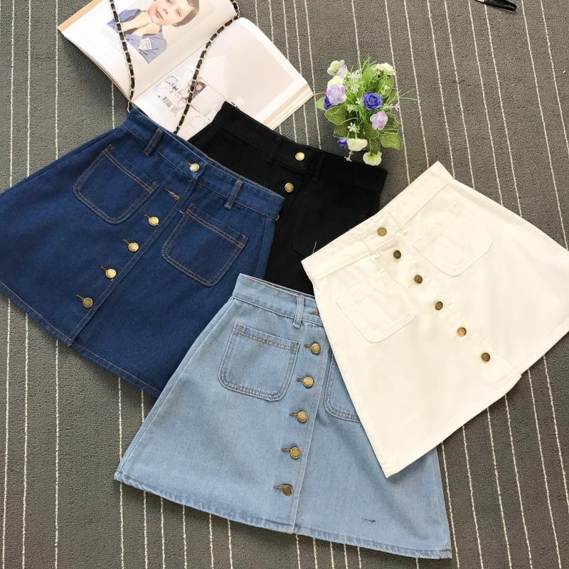 On sale 2020 summer Womens ladies A-line Jeans short Skirt Button High Waist Denim pockets Skirt harajuku mini high quality jean