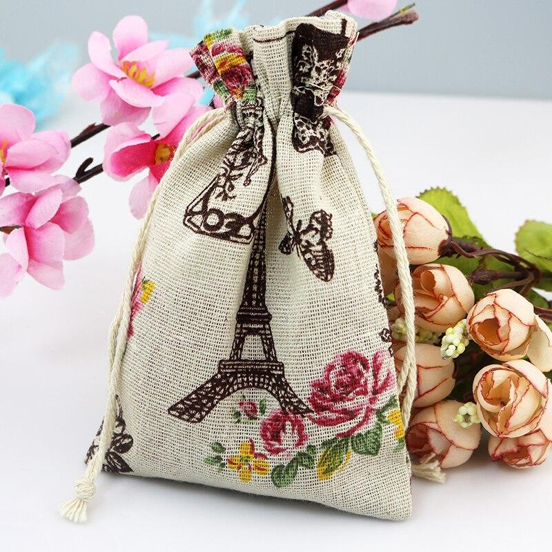 حقيبة من القطن بحبل لبرج إيفل ، حقيبة كتان لتخزين بخور مستحضرات التجميل ، حقيبة تغليف وإكسسوارات المجوهرات ، ملونة ، 50 × 13 × 18 سم
