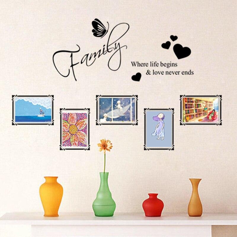 Familia donde la vida comienza y el amor nunca termina pegatinas de pared arte marco de fotos citas dormitorio hogar vinilo personajes Mural DIY calcomanías