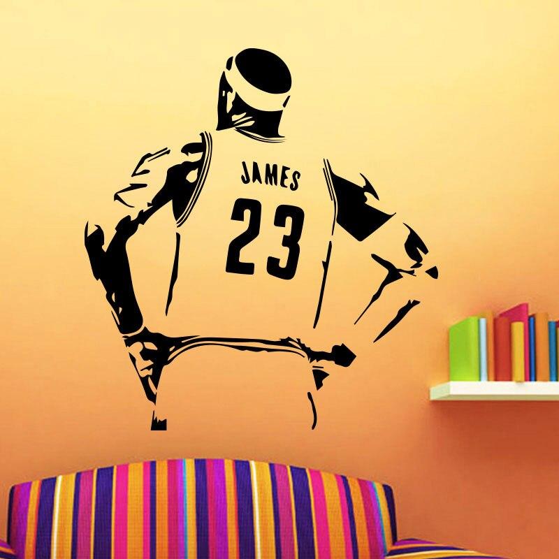 Basketball Star Lakers LeBron James Wall Sticker Teen Room Activity Room Decoration Vinyl Self-Waterproof Art Deco Mural 3YD22