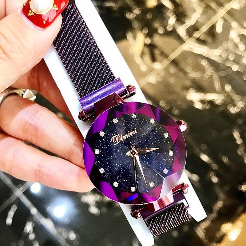 New Style Women Watches Fashion Women Creative Luxury Starry Quartz Watches Simple Magnet Stone Strap Clock zegarki damskie enlarge