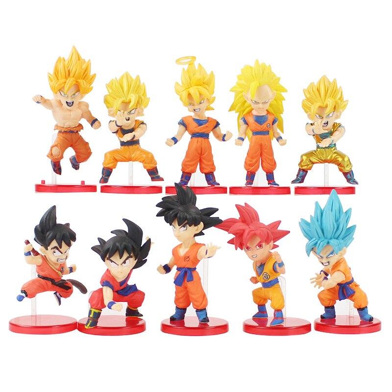 Lote de 10 unidades de figuras de Dragon Ball Z, Set de superbatalla de Saiyans, Goku, pelo rojo y azul, modelo de figuras de acción de PVC
