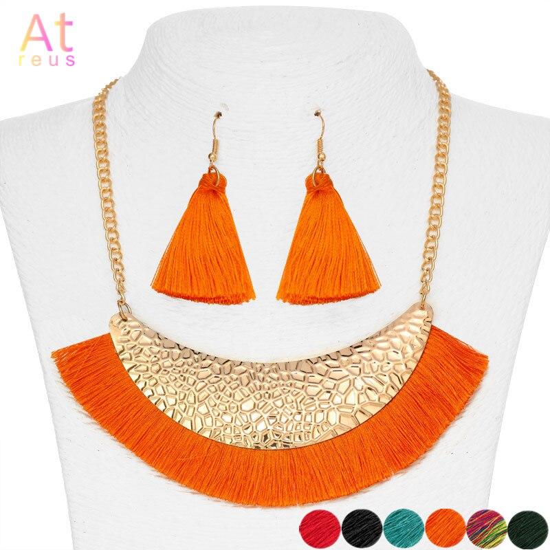 Pomarańczowy szeroki Fringe naszyjnik na szelkach zestaw dla kobiet opadające kolczyki z długimi frędzlami Nigeria biżuteria ślubna zestaw złoty kolor Metal bijoux