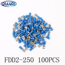 FDD2-250 여성 절연 전기 압착 단자 1.5-2.5mm2 커넥터 케이블 와이어 커넥터 100 개/갑/팩 FDD2.5-250 FDD