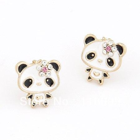 Atacado bonito panda brincos adorável animal brincos urso dos desenhos animados brincos para menina moda feminina jóias 2017