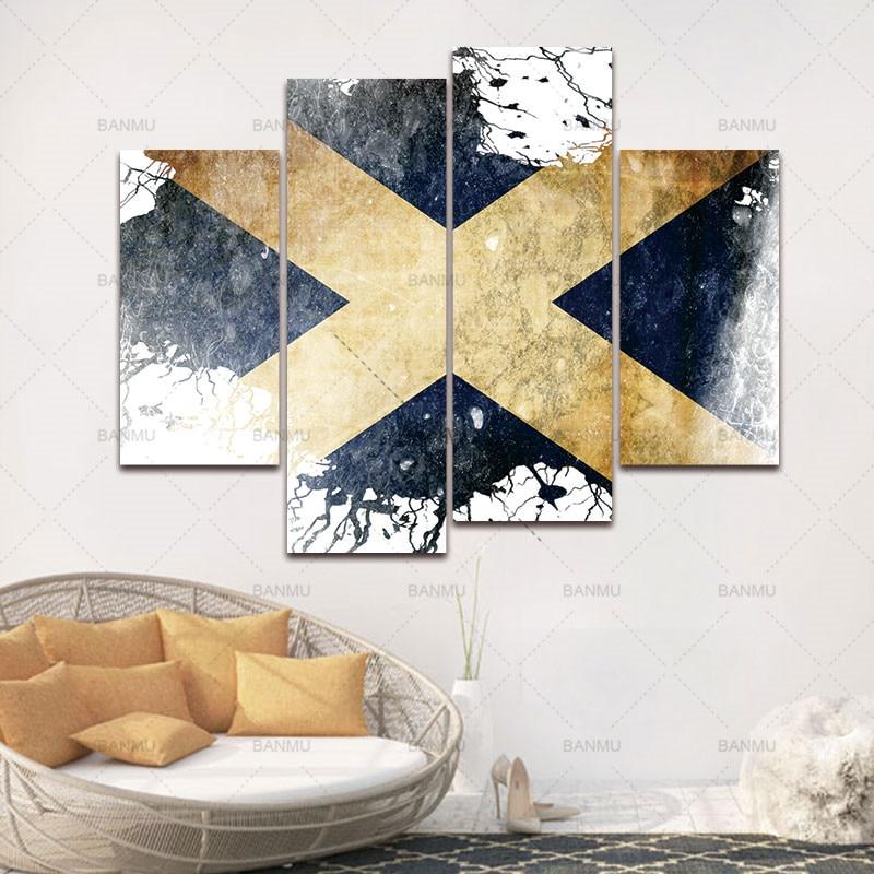 BANMU Флаг Шотландии в бело-синей стене художественная живопись картины печать на холсте искусство картина для дома Современное украшение