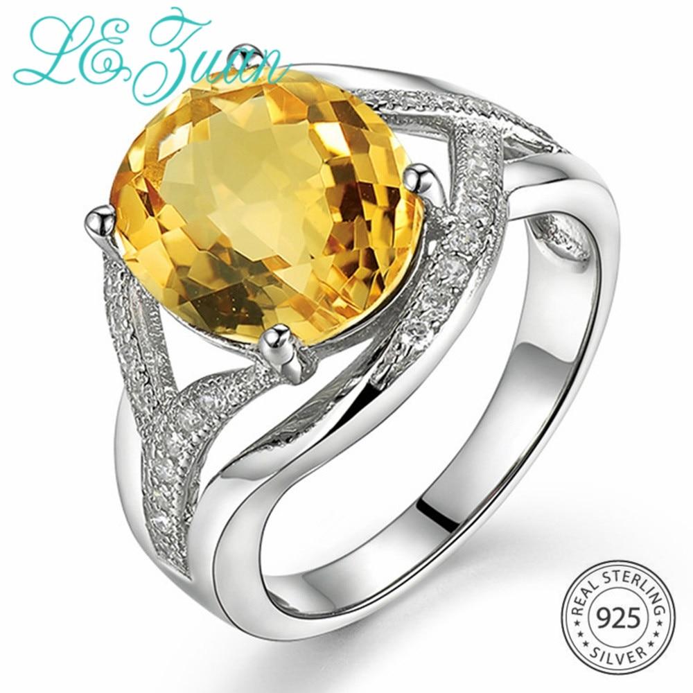 L & zuan 4.75CT Natural Citrino Mulheres Anéis de Pedras Preciosas Amarelo Ouro Branco 925 Sterling Silver Ring Wedding Party Nupcial Fino jóias