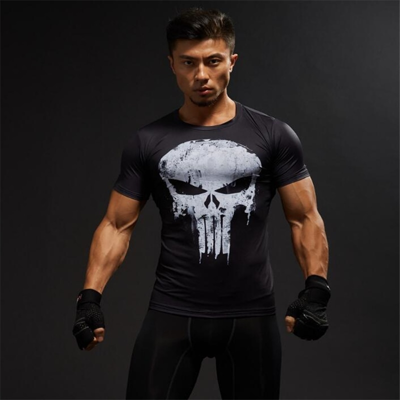 TUNSECHY mode Compression Shirts Männer 3D Gedruckt T-shirts Kurzarm Fitness Körper Gebäude Männlichen Tops Punk Schädel Skeleton