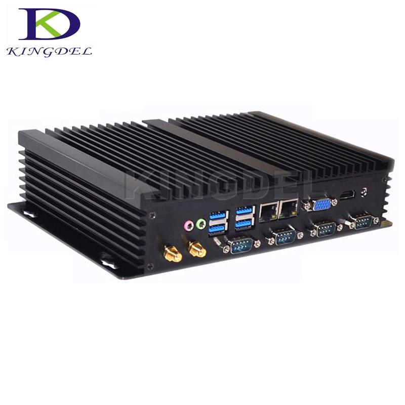 Kingdel Hot Dual NIC sin ventilador Mini PC Intel Celeron 1037U Dual Core Windows 10 Linux Ubuntu ordenador Industrial con 4 * RS232