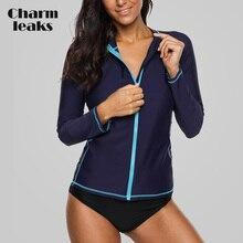 Charmleaks mujeres de manga larga con cremallera Rashguard traje de baño de Color sólido traje de baño surf Top Running ciclismo camisas Rash Guard UPF50 +