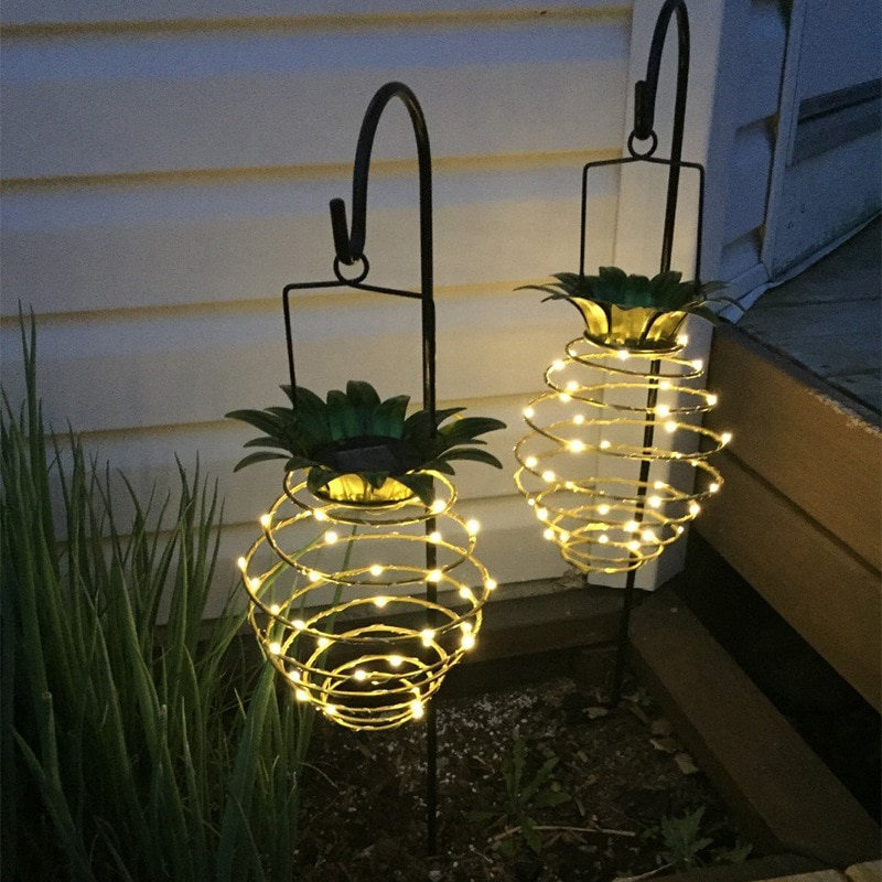 Lampes de jardin solaires ananas forme extérieure solaire suspension étanche applique murale fée veilleuses fer fil Art décor à la maison