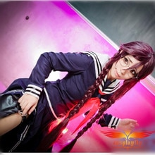 Dangan-Ronpa Toko Fukawa Danganronpa Cosplay Costume Women Summer Dress Pleated Skirt Women Clothing Sword Bag Red Tie Glasses