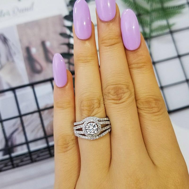 Moonso 925 anéis de prata esterlina conjunto par banda 3 peças conjuntos anel para as mulheres genuíno casamento noivado anillos anel aneis r235x