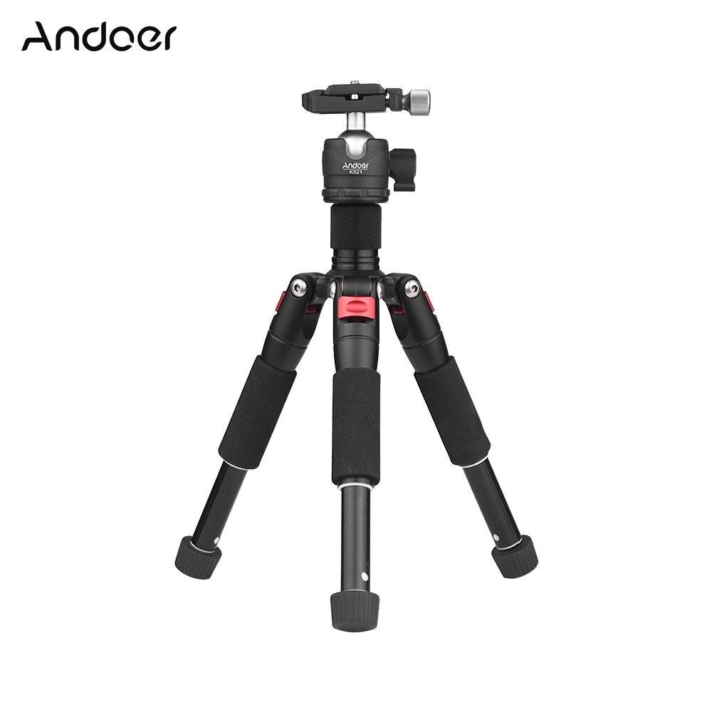 Andoer K521 Tripod Portable 5-section Tripod with Mini Ball Head Low Center of Gravity for Canon Nikon Sony DSLR ILDC Camera