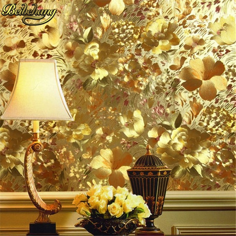 Papel pintado de hoja Floral dorado beibehang fondo de característica en relieve dorado para sala de estar rollo de papel de pared mural de papel tapiz 3d