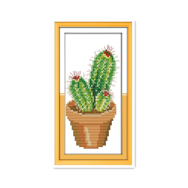 Pequeño Kit de punto de cruz de clase de interés de principiante Simple de Cactus de vicio adecuado para niños bordado de mano en el cerebro diy