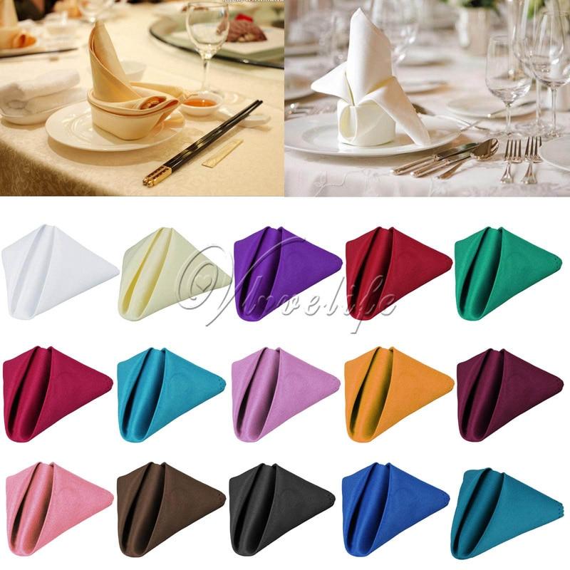 Servilleta de mesa para boda de 30x30 cm de Uds. 100, servilleta de lino, pañuelo de poliéster para cena, fiesta, suministros navideños, favores de boda