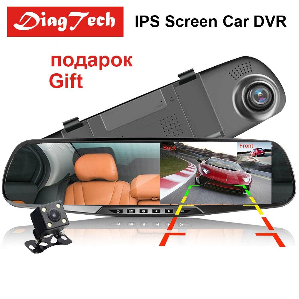 ¡Novedad! cámara de salpicadero DVR para coche cámara de salpicadero 4,3 ''espejo DVR para coche doble lente HD 1080P cámara de visión trasera Dashcam grabadora de vídeo automático