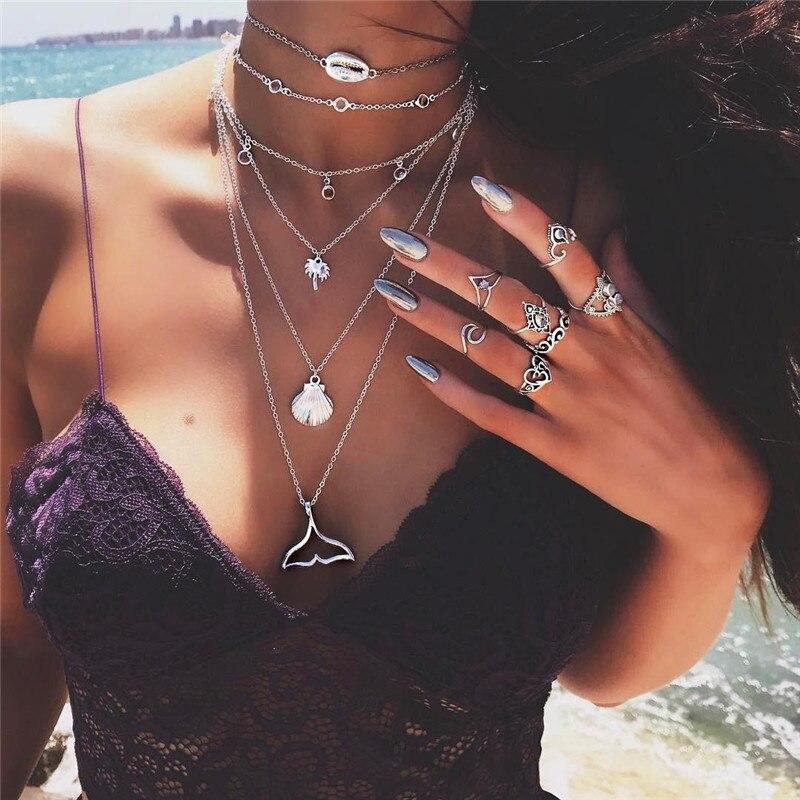 Bohème multicouche sirène queue pendentif collier pour les femmes Vintage plage argent couleur coquille collier ras du cou pendentif bijoux