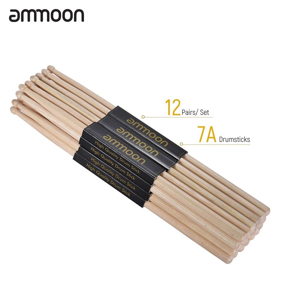Ammoon, 3/12 pares, 5A/ 7A, baquetas de tambor de madera Fraxinus Mandshurica, juego de tambor de madera, accesorios de instrumentos de percusión