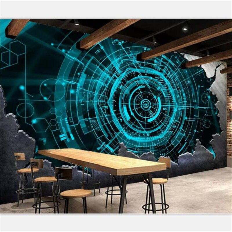 Beibehang personalizar cualquier tamaño papel pintado pintura mural barra de acero tecnología bar restaurante Fondo pared papel tapiz 3d