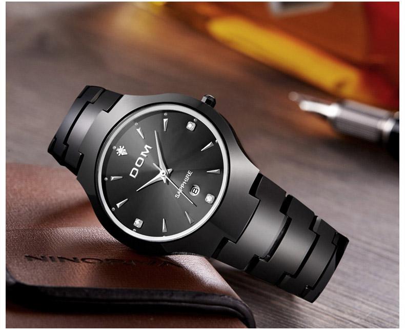 Hk dom luksusowe top marka męska zegarek wolframu stal wrist watch wodoodporna biznesu kwarcowy zegarek fashion casual sport watch 7