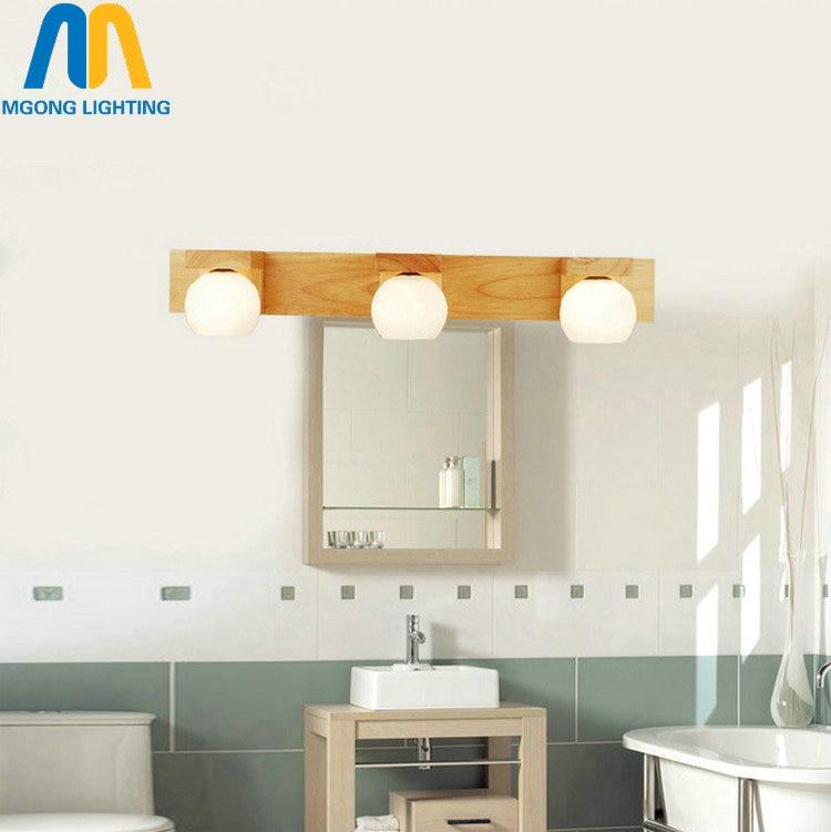 luminaria de parede moderna para espelho de banheiro longa de madeira g4 lampada