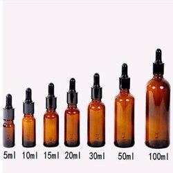 Agente líquido âmbar de vidro, frasco de pipette para os olhos 5/10/15/20/30/50 ml garrafas potes de armazenamento