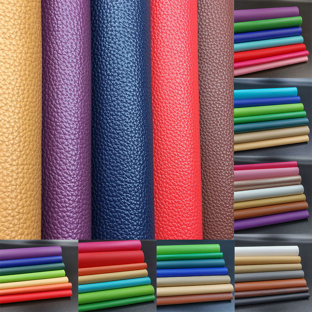 A4 Litchi PU Leatherette Faux Leather Fabric Synthetic For Sewing Bow Bag Brooches Sofa Car DIY Hade