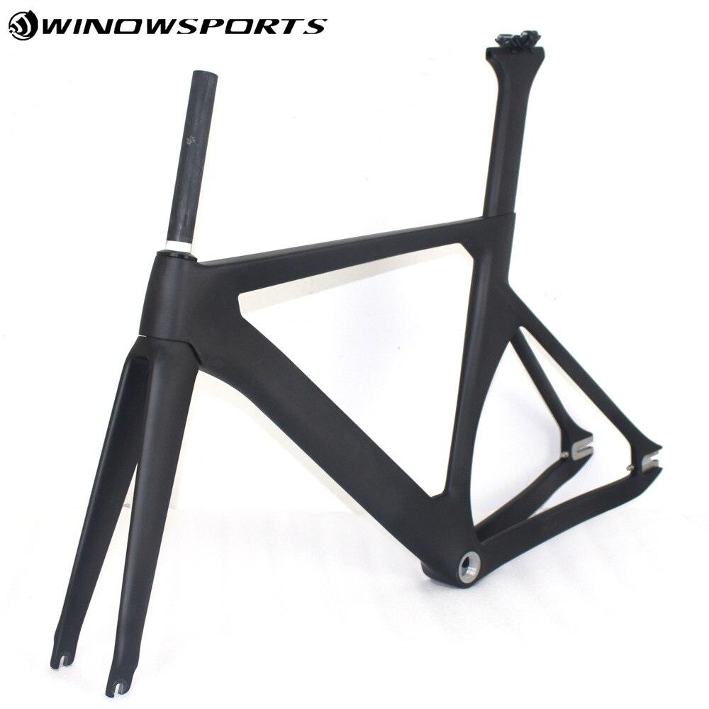 Marco de bicicleta de fibra de carbono Aero + horquilla + tija + abrazadera para bicicleta Aero Track Frameset brillante/mate