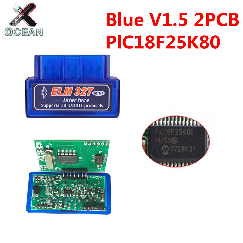 OBDII ELM327 PIC18F25K80 Bluetooth V1.5 Auto escáner ELM 327 2PCB PIC18F25K80 OBDII escáner de diagnóstico Hardware 1,5