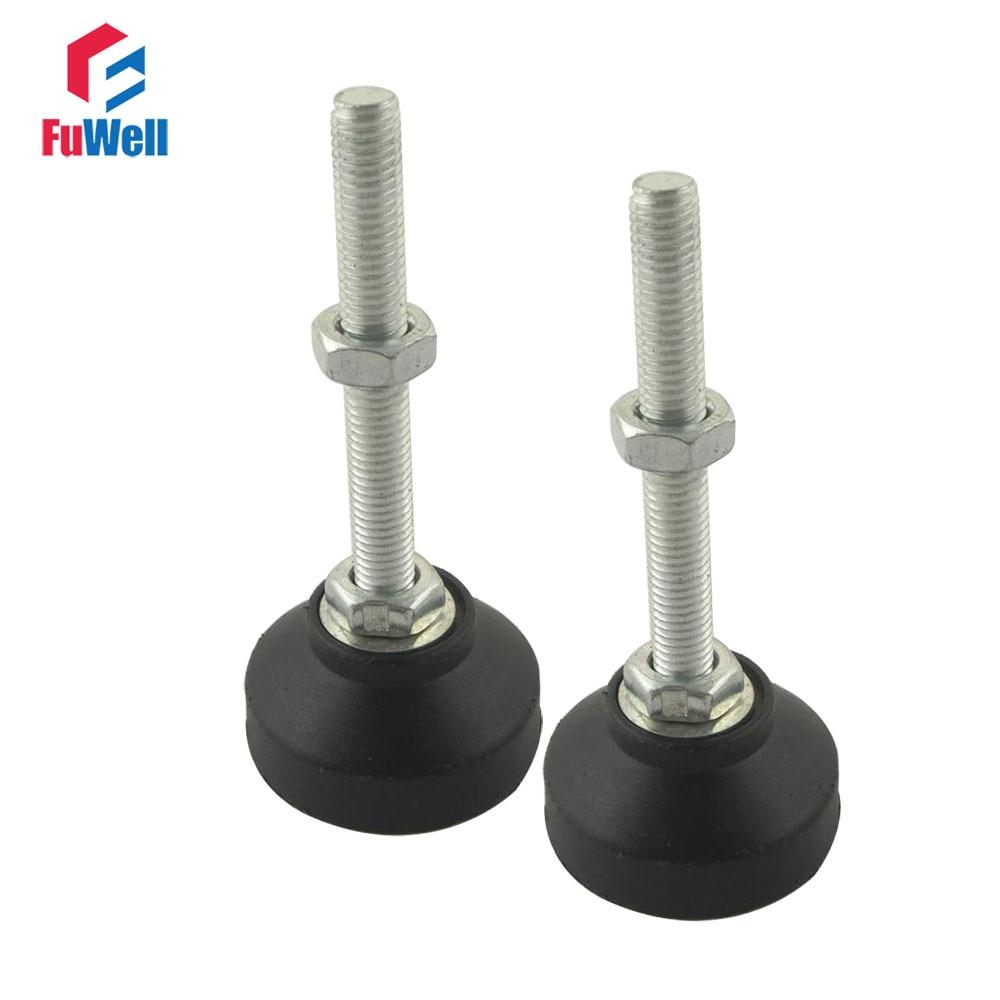 2 uds. Pie ajustable copas de hilo M12/M16 Base de Nylon reforzado 60mm de diámetro pies articulados 60/80/100/120/150mm pie nivelador