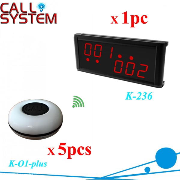 5 buzzers with 1 3-digit display receiver Restaurant service call bell system