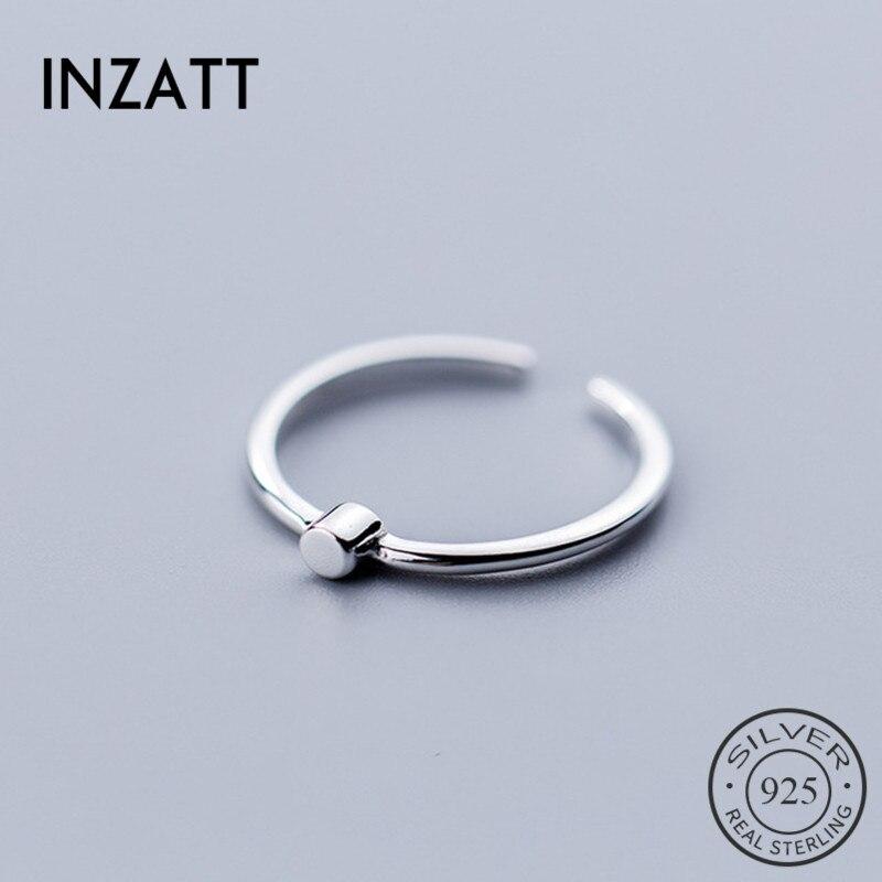 INZATT Real 925 Sterling Silver Minimalist Geometric Adjustable Ring For Fashion Women Birthday Party FINE Jewelry 2020 Gift