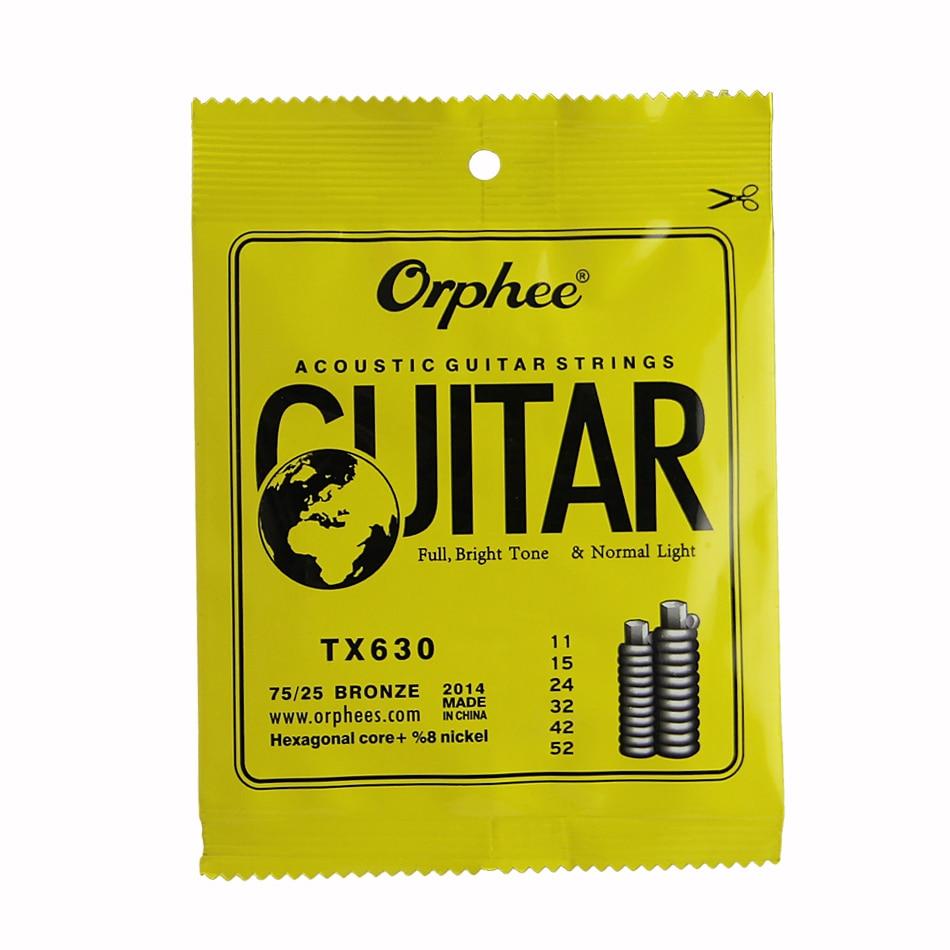 Orphee ACOUSTIC Guitar String  (011-052) Hexagonal core+8% nickel FULL,Bright tone&Normak Light