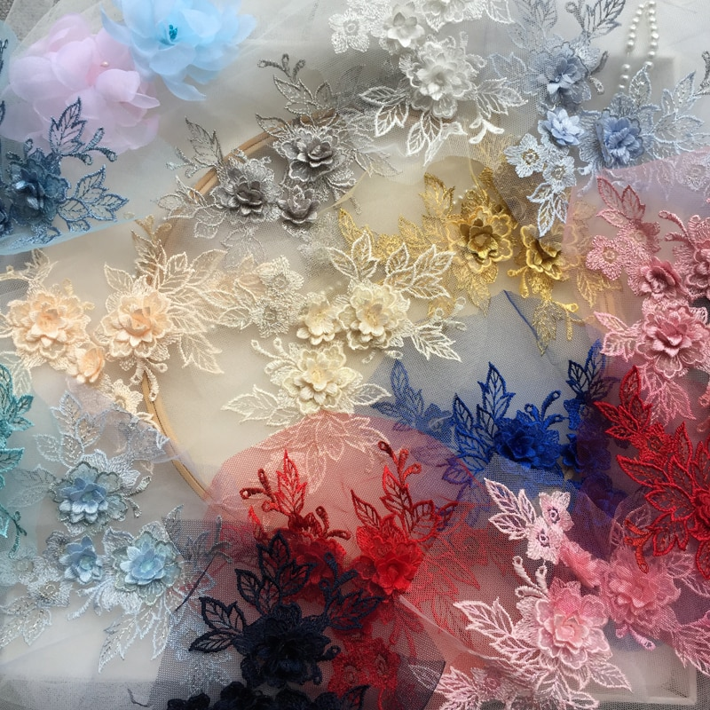 Aplique de encaje en 3D de 15 colores, accesorios de prendas de vestir con flores, dorado, azul vino tinto rojo gris, negro, azul marino, 1 pieza