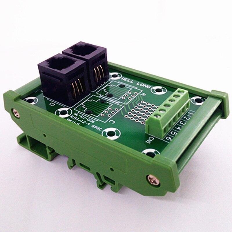 Разъем RJ11/RJ12 6P6C, 2-сторонний модуль подключения к din-рейке, клеммный блок, разъем.