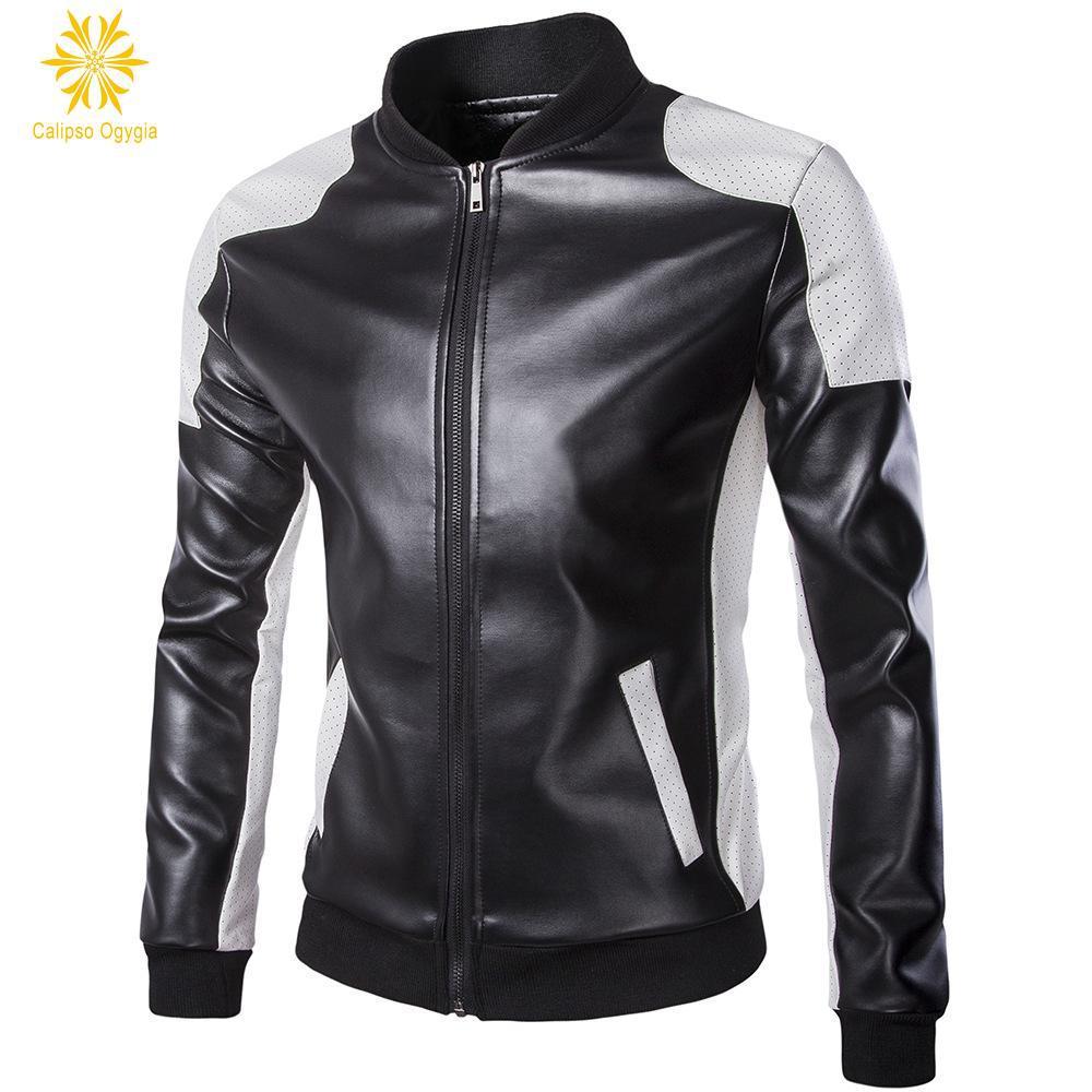 FASHION Stitching Mens PU Leather Jacket Slim Fit Biker Motorcycle Coat Hole Zipper Outwear 4XL 5XL Free Shipping