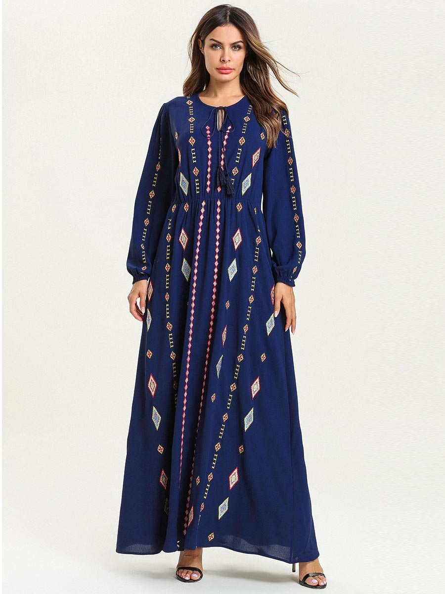 Elegant Ethnic Muslim Abaya Maxi Dress Geometric Embroidery Kimono Long Robe Gowns Jubah Ramadan Middle East Islamic Clothing