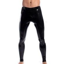 High Elastic Mens Black Faux Leather Latex Pencil Leggings Wetlook Bondage Pants Gay Male Fashion Tight Boxer Underwear XS-XXL