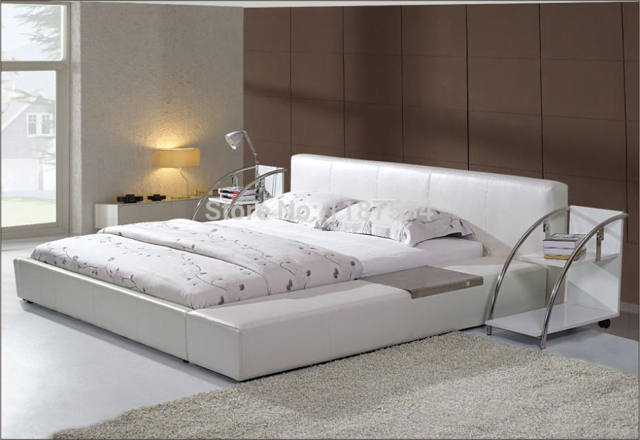 Cama suave grande tamaño king PU + cama suave de cuero PVC C380