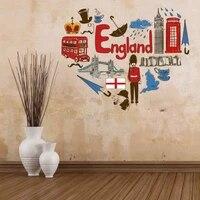 i love england illustration fashion wedding decor vinyl waterproof wall sticker bedroom wallpaper wall decal baby rooms decor