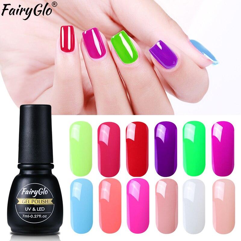 FairyGlo 7ML esmalte de uñas de pintura de esmalte de uñas remoje Semi permanente Nagellak Vernis un Ongle pintura Gellak Gelpolish suerte