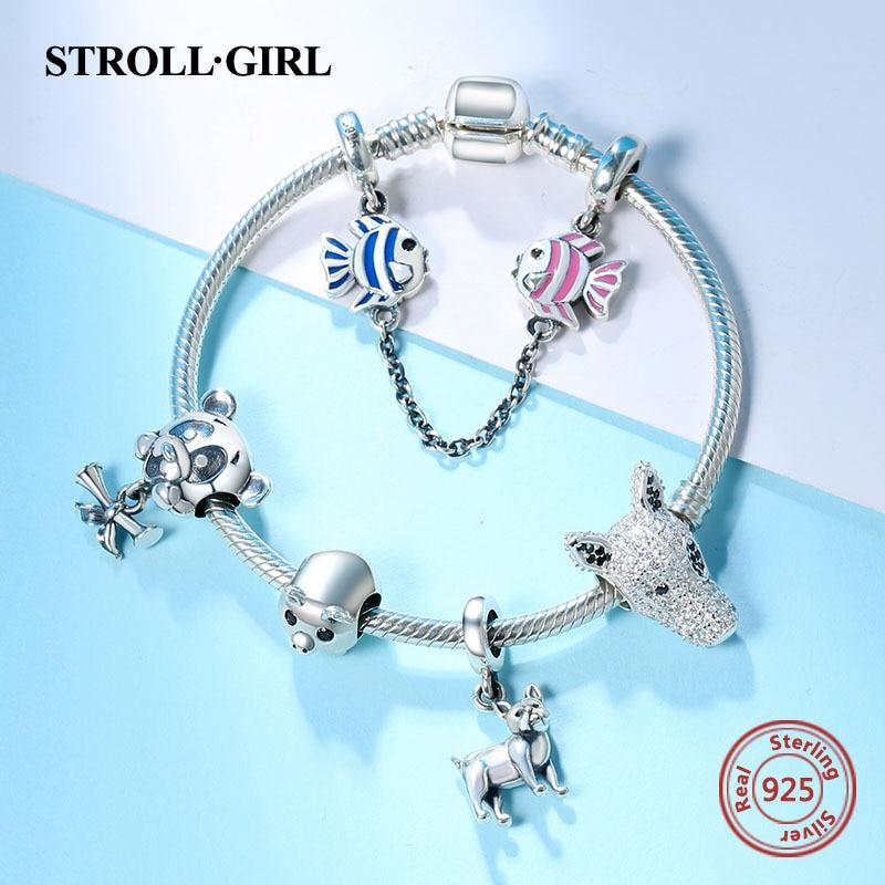 Venda quente 925 prata esterlina cobra corrente com animais encantos contas pulseira original moda diy jóias fazendo para presente feminino