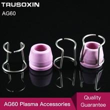 10 pièces en céramique bouclier tasses et 10 pièces anneau de guidage/Air Plasma Cutter AG60 coupe torche consommable/outils de mariage/accessoires