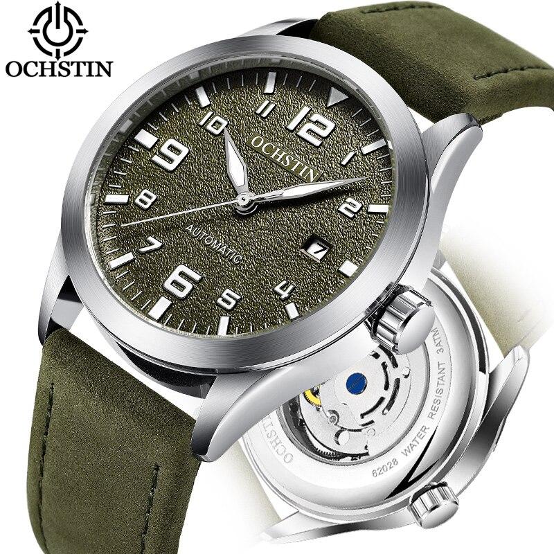 Reloj Automático de lujo de la mejor marca OCHSTIN, reloj deportivo resistente al agua con fecha, reloj de Reloj de pulsera mecánico de cuero para hombre, reloj de moda