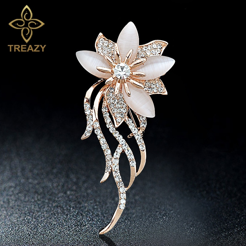 TREAZY Elegante Opala Pedra Flor Broche Pinos Mulheres Acessórios Do Traje Jóias Pin Broche de Strass Nupcial Presentes