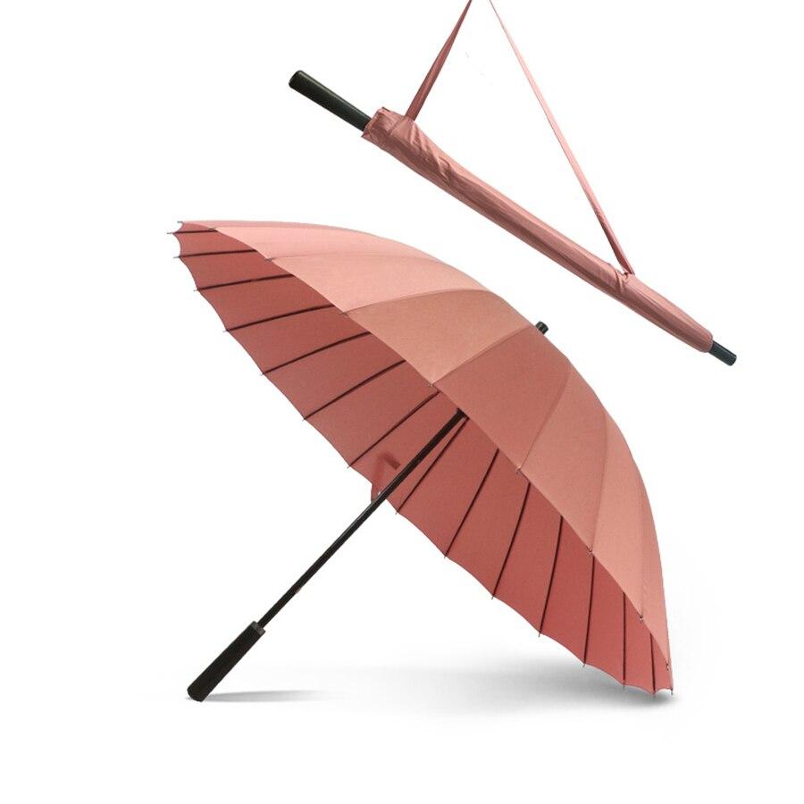 24 Ribs Custom Storm Pink Umbrella a prueba de viento paraguas de mango largo al aire libre sombrilla de Sombrinha mujeres de alta calidad 80ys055
